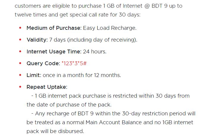 Robi Prepaid SIM Offers 1gb only 9tk