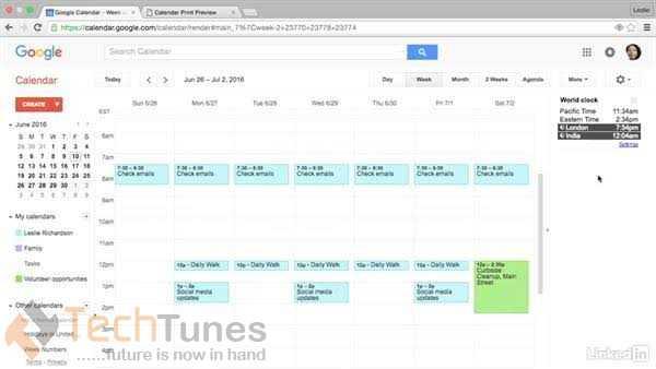 world clock in google calendar
